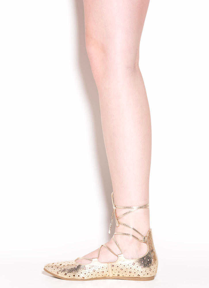 Totally Perf Lace-Up Metallic Flats GOLD