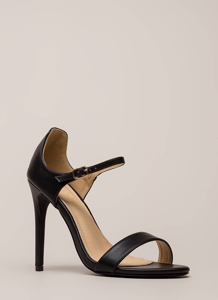 Time 'N Place Strappy Faux Leather Heels BLACK