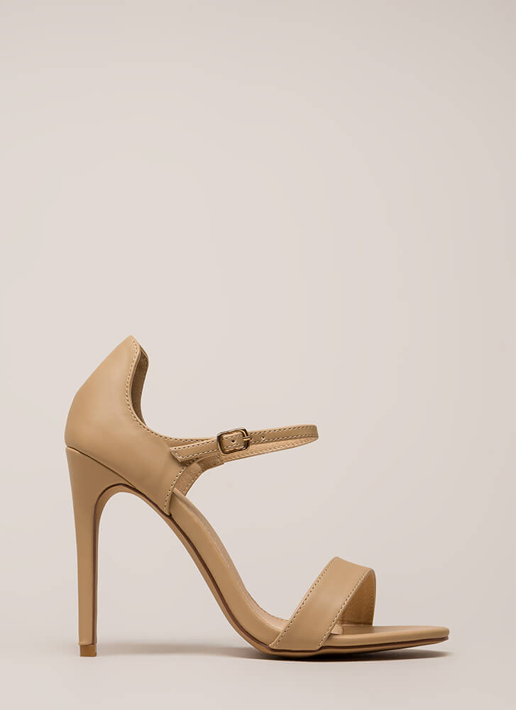 Time 'N Place Strappy Faux Leather Heels NUDE (Final Sale)