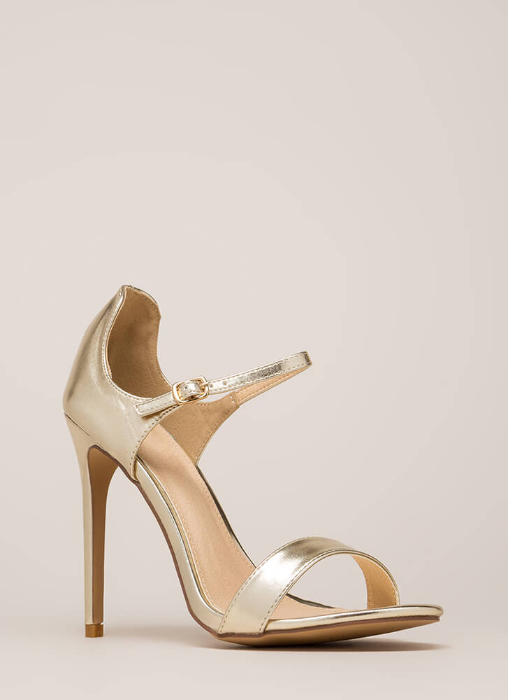 Time 'N Place Strappy Metallic Heels GOLD