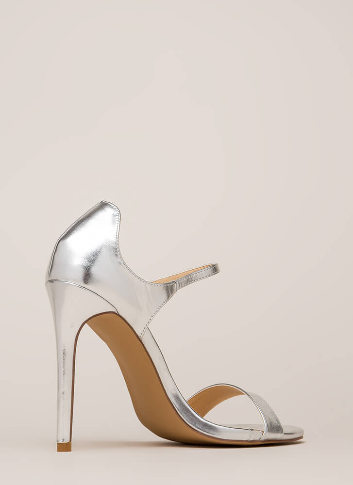 Time 'N Place Strappy Metallic Heels SILVER (Final Sale)