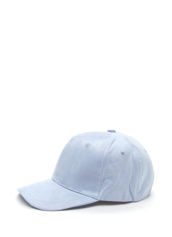 Fashion Play Faux Suede Baseball Cap LTBLUE