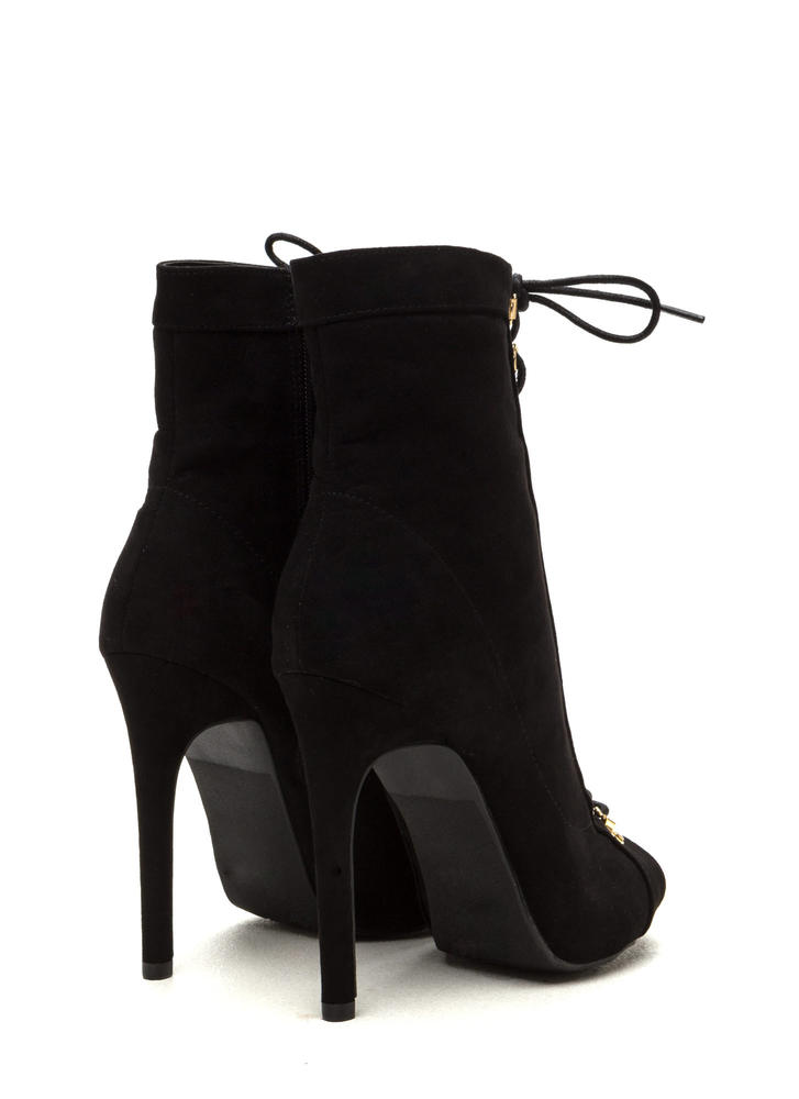 Never Fear Faux Suede Lace-Up Booties BLACK