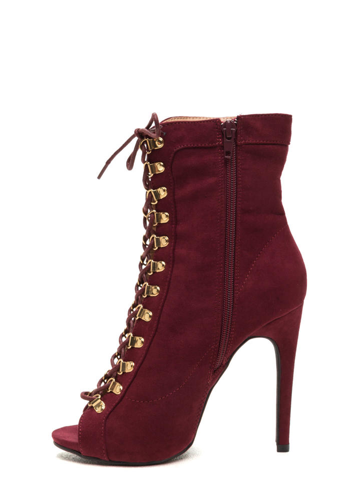 Never Fear Faux Suede Lace-Up Booties BURGUNDY
