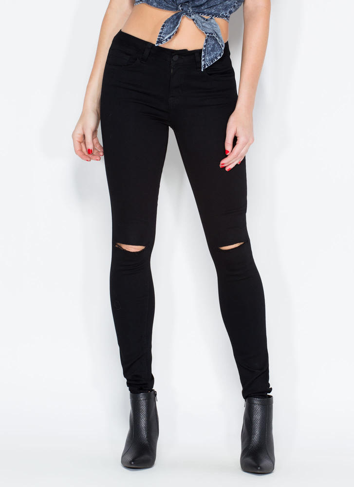 Slit To Be Tied Jeggings BLACK