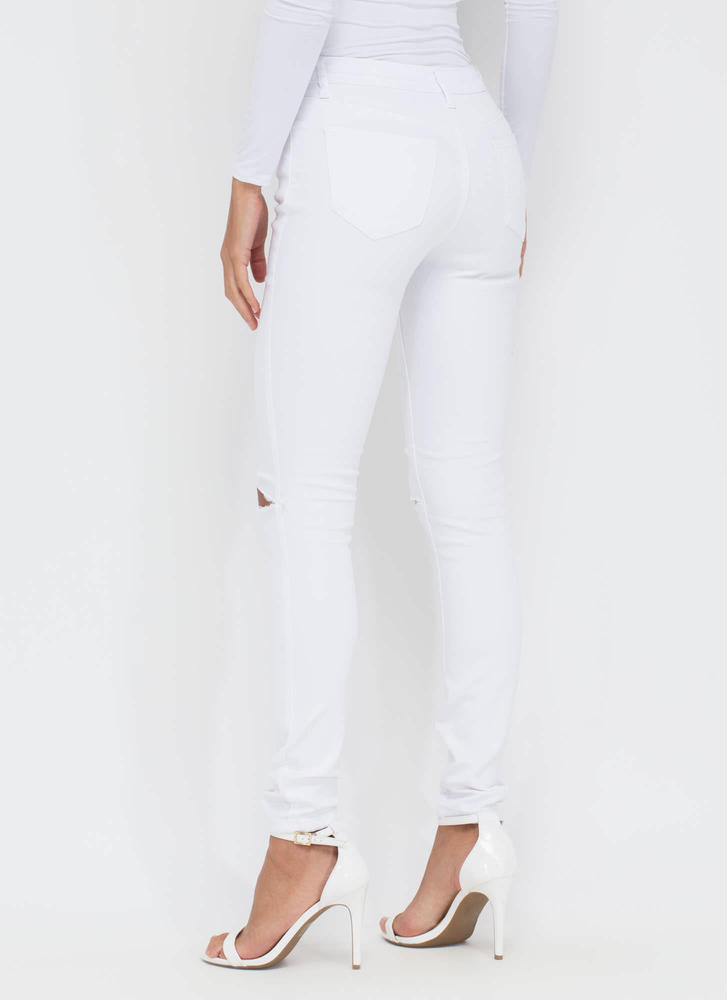 Slit To Be Tied Jeggings WHITE