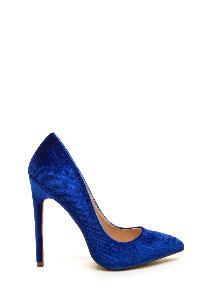 Head To Toe Pointed Velvet Pumps BLUE