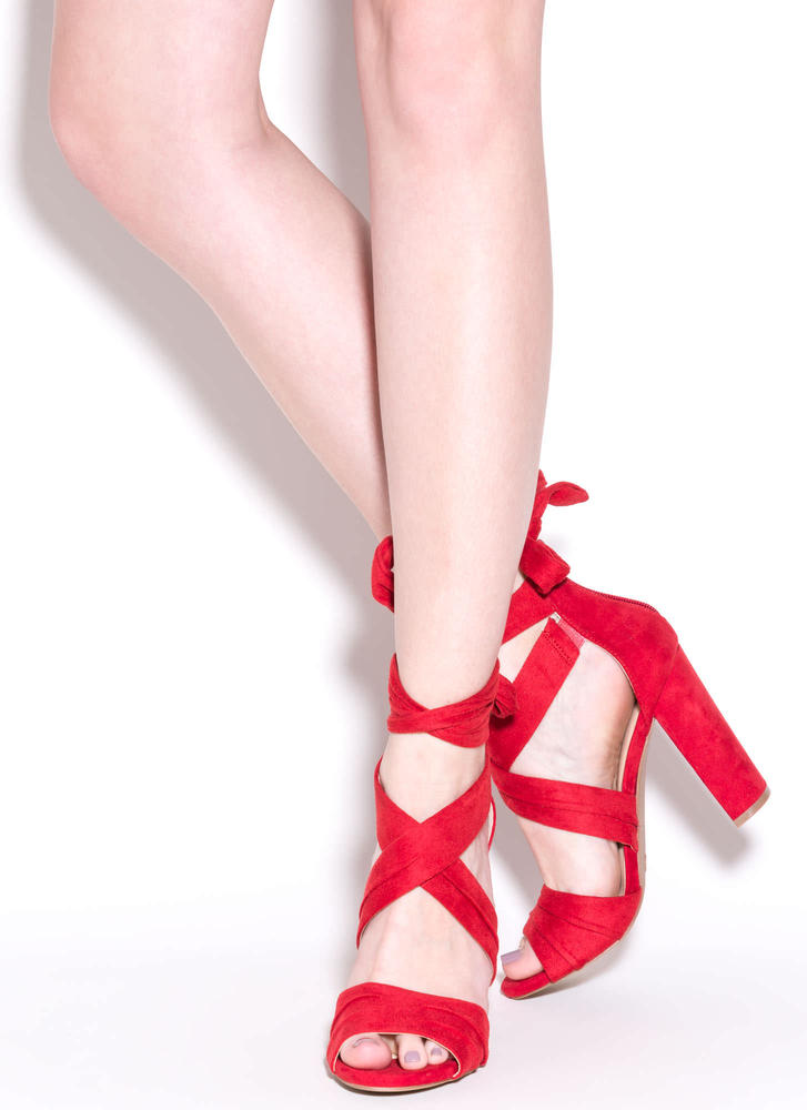 Pleats And Thank You Chunky Heels RED