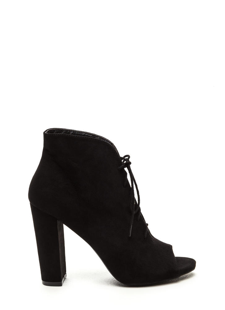 Sassy Strut Lace-Up Faux Suede Booties BLACK