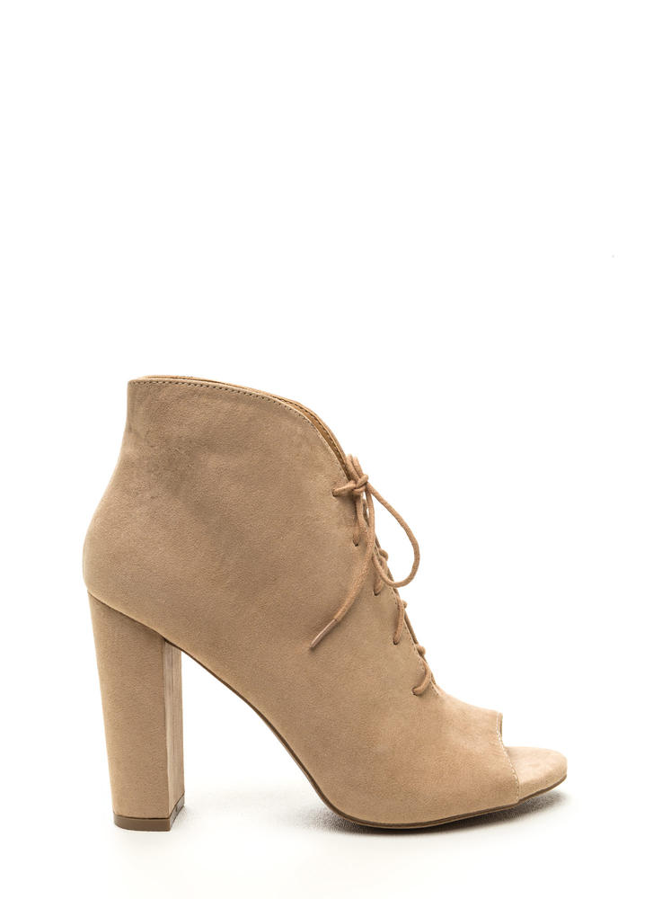 Sassy Strut Lace-Up Faux Suede Booties NATURAL