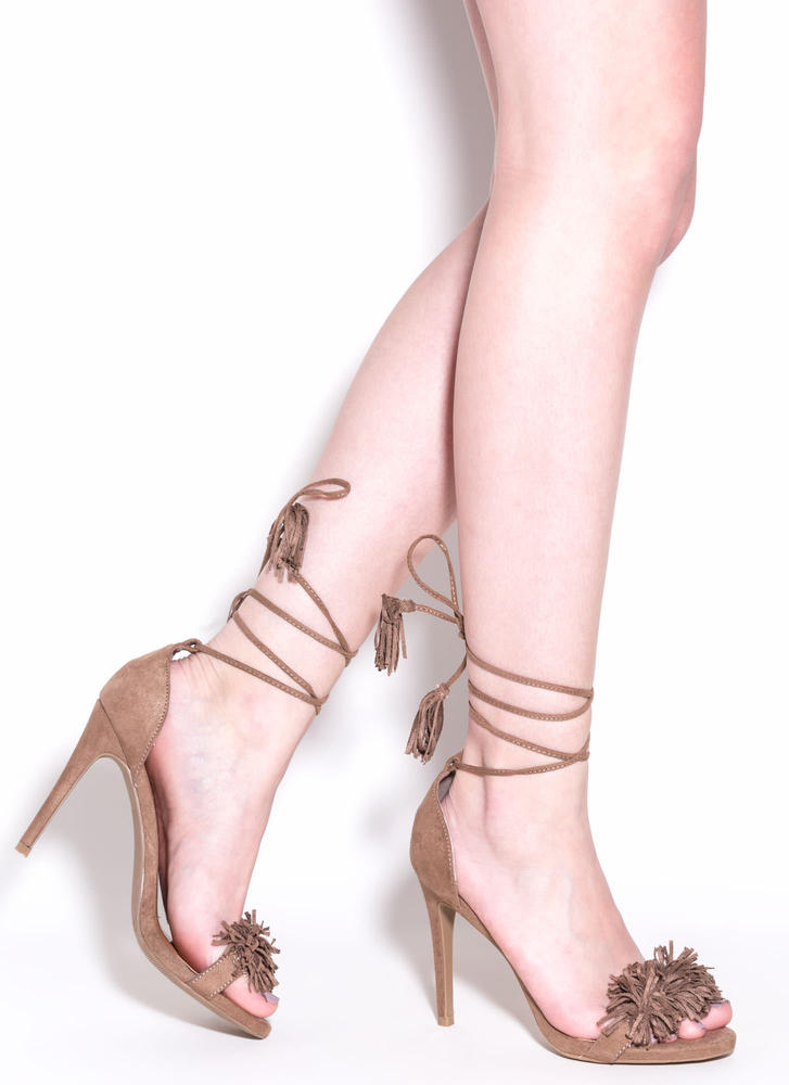 Step Into Fringe Lace-Up Heels TAUPE