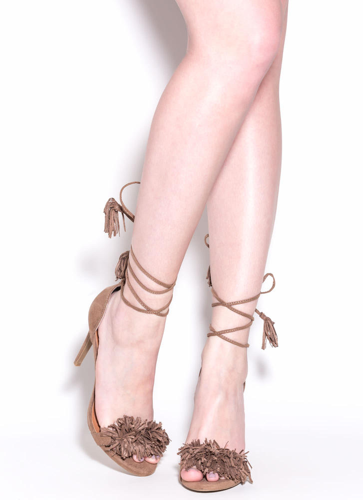 Step Into Fringe Lace-Up Heels TAUPE (Final Sale)