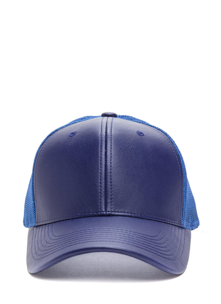 Cap Me Off Faux Leather Trucker Hat ROYAL