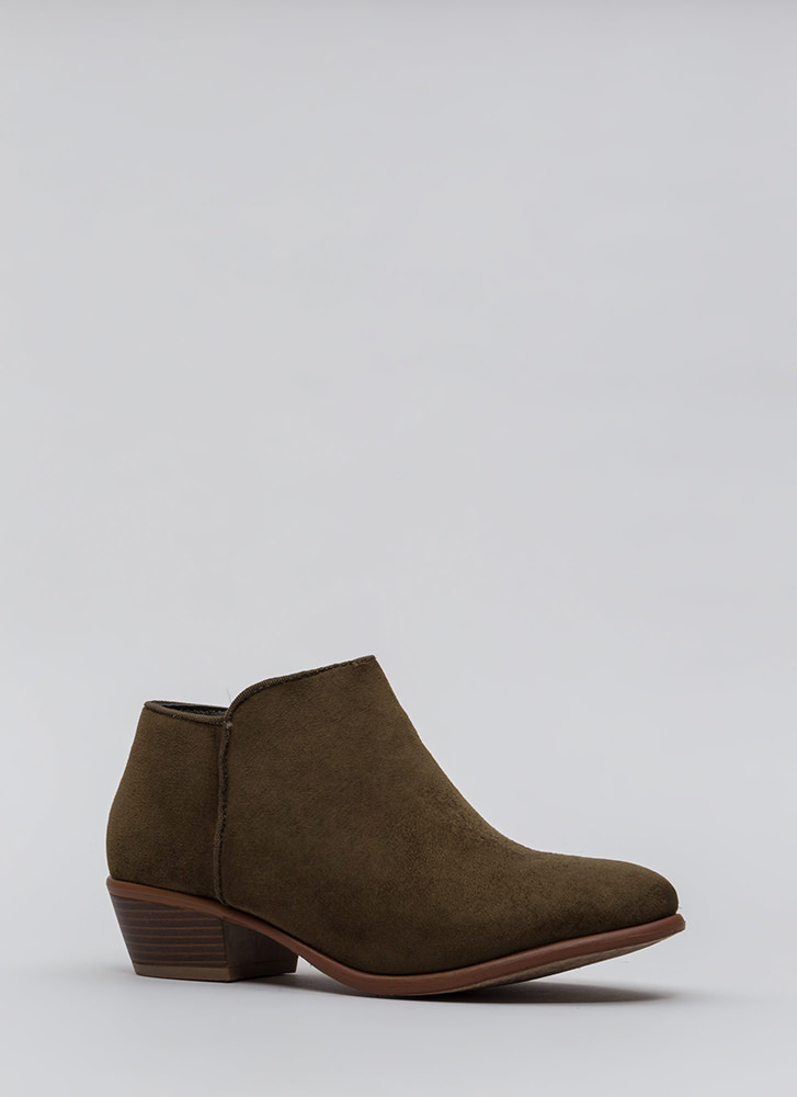 Jetset Diaries Faux Suede Booties OLIVE