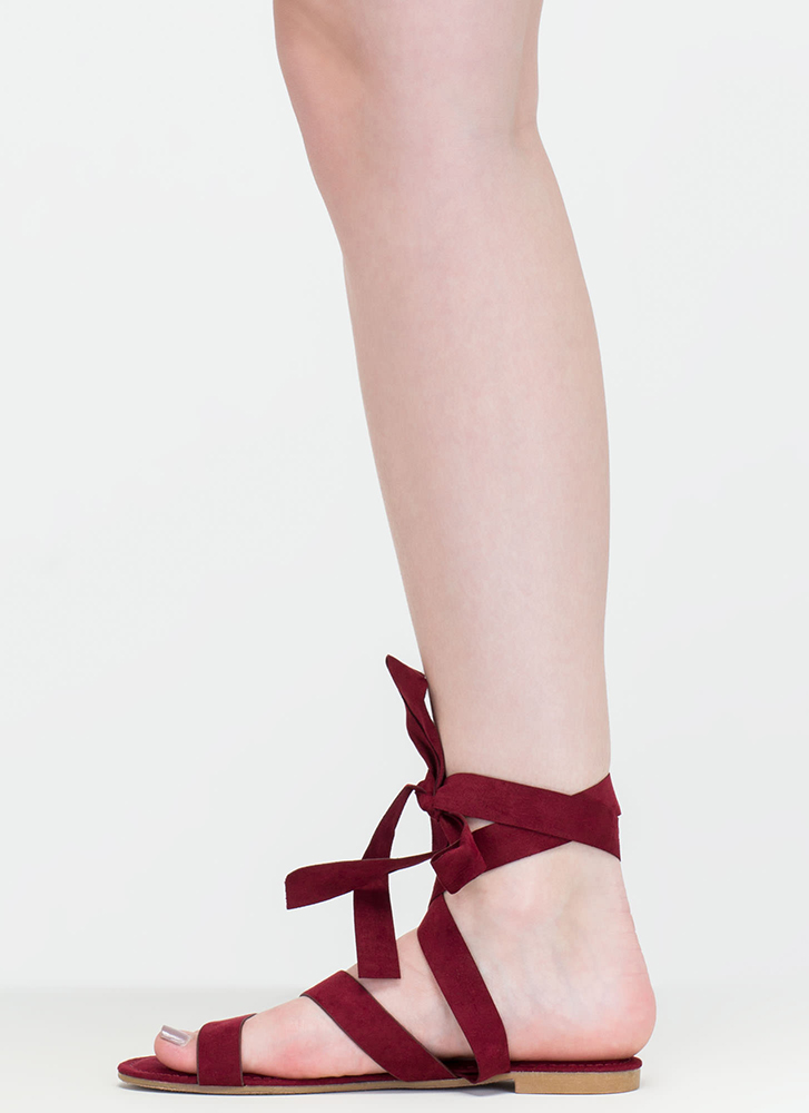 Ties Made Up Faux Suede Sandals BURGUNDY