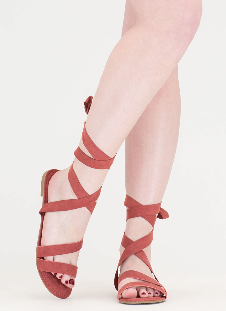 Ties Made Up Faux Suede Sandals MAUVE