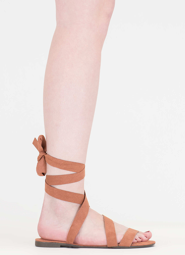 Ties Made Up Faux Suede Sandals MOCHA