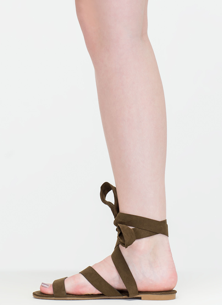 Ties Made Up Faux Suede Sandals OLIVE