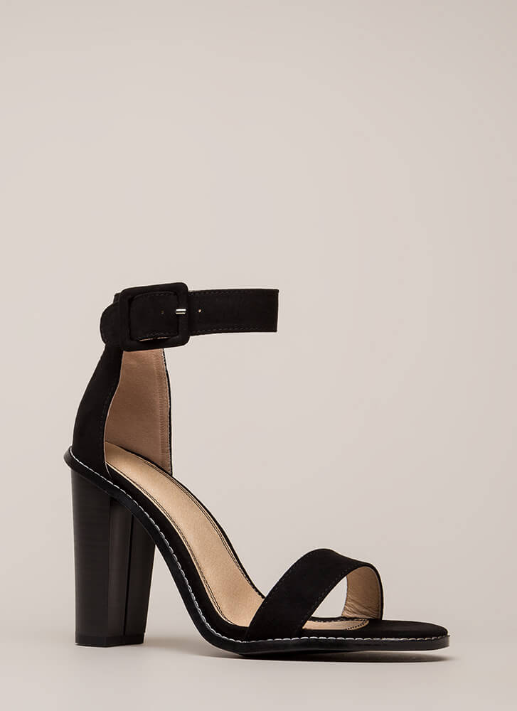 Single Strap Minded Faux Suede Heels BLACK (Final Sale)