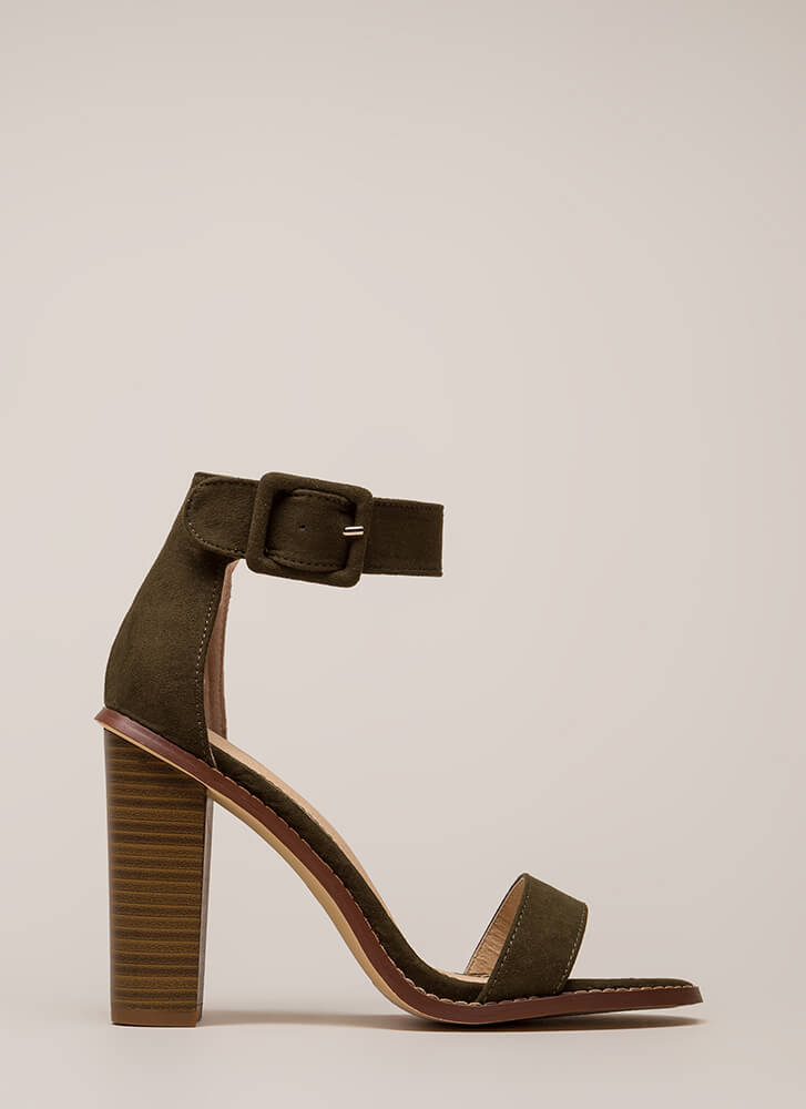 Single Strap Minded Faux Suede Heels OLIVE (Final Sale)
