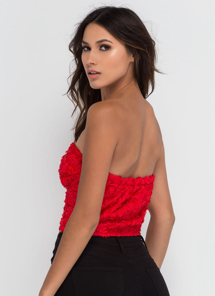Coming Up Rosettes Bustier Crop Top RED
