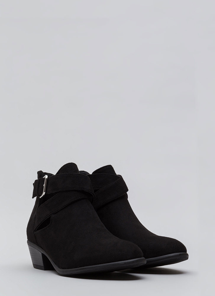 All Day Slay Faux Suede Cut-Out Booties BLACK