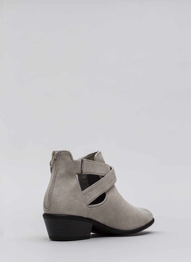 All Day Slay Faux Suede Cut-Out Booties LTGREY