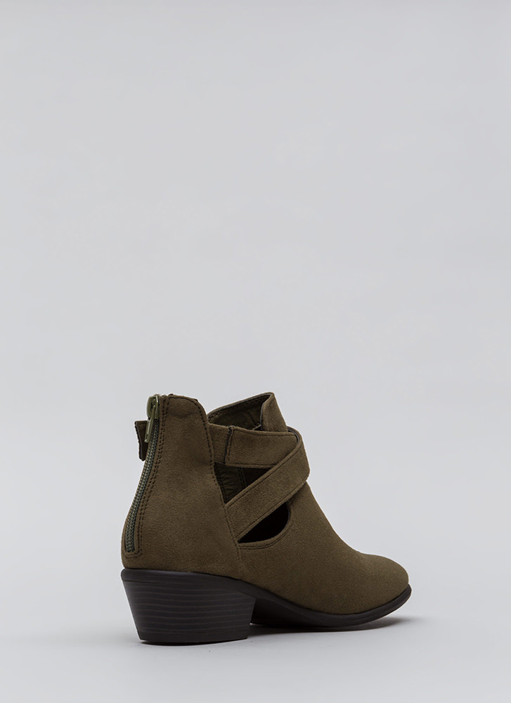 All Day Slay Faux Suede Cut-Out Booties OLIVE
