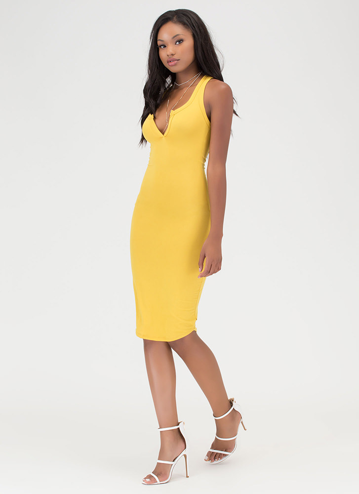 Casual Fling Racerback Tank Dress MUSTARD