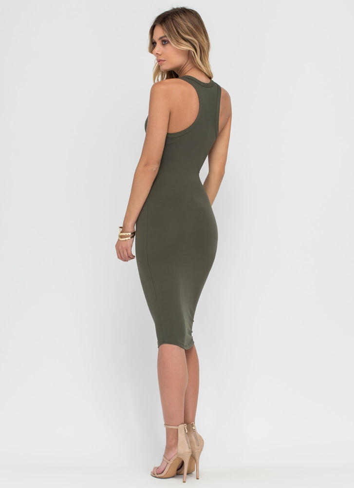 Casual Fling Racerback Tank Dress OLIVE