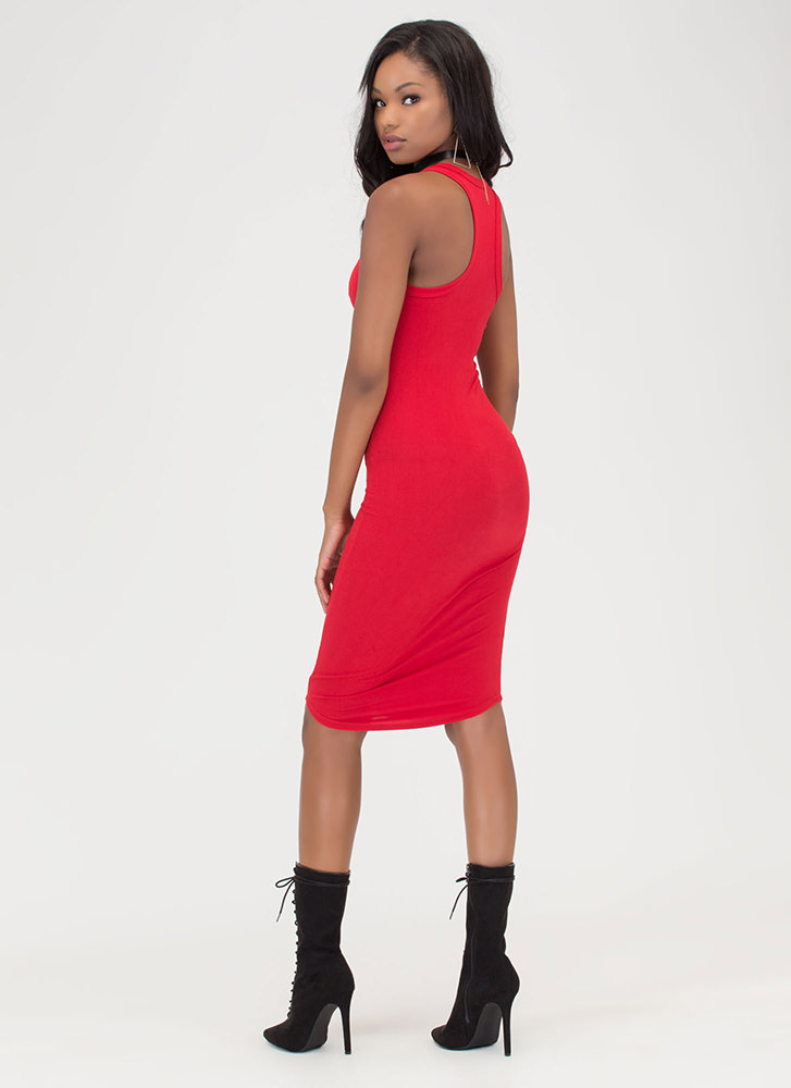 Casual Fling Racerback Tank Dress RED