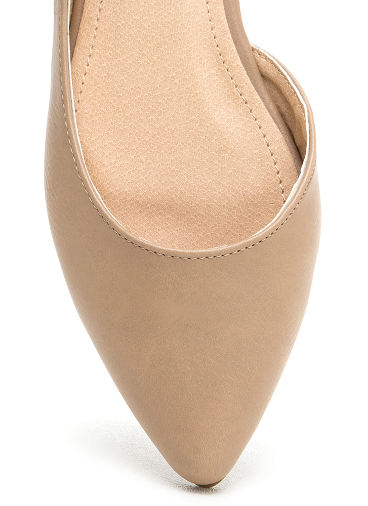 Make It A Point Faux Leather Flats NUDE