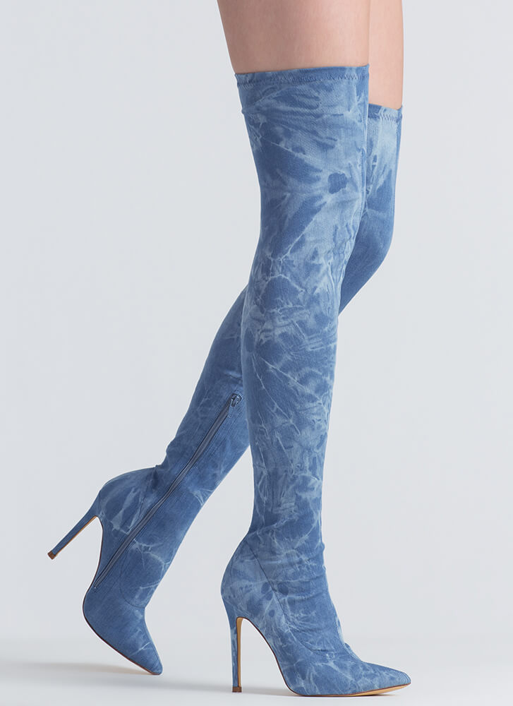 Long Story Chic Thigh-High Boots BLUEWASH