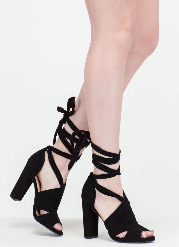 Totally To Tie For Lace-Up Chunky Heels BLACK