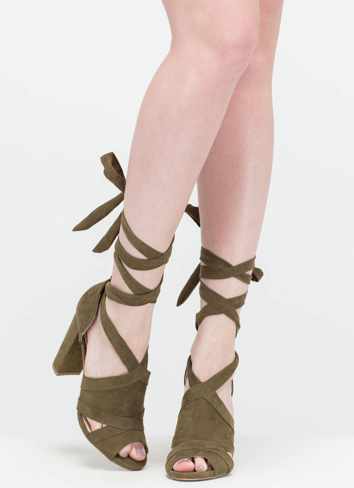 Totally To Tie For Lace-Up Chunky Heels OLIVE