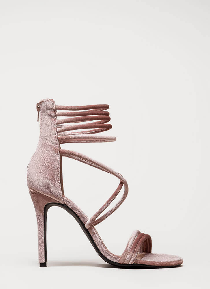 Velvet Touch Strappy Stiletto Heels MAUVE