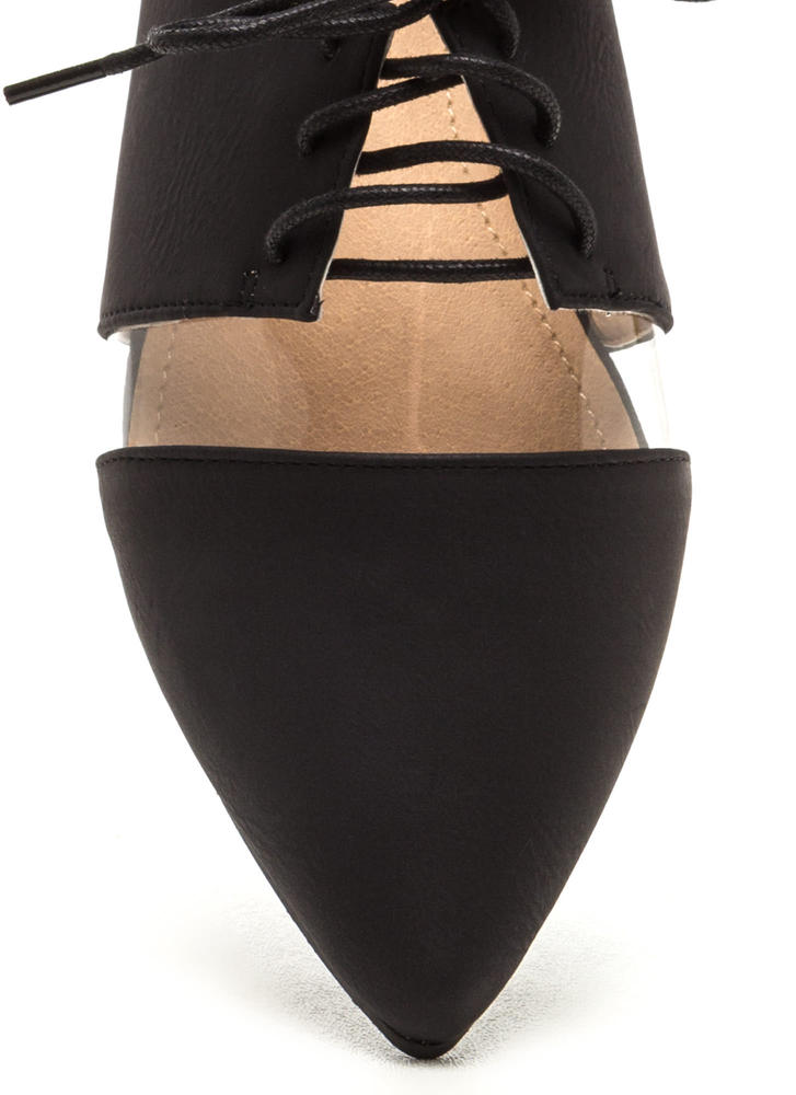 Top Exposure Faux Leather Flats BLACK