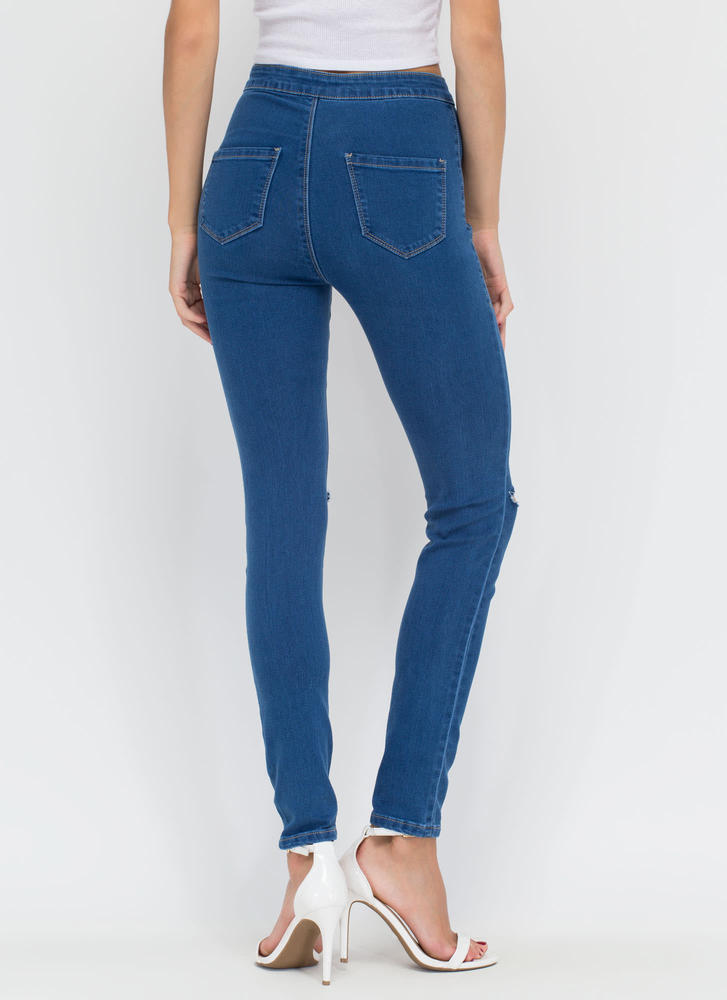 Slits Easy High-Waisted Jeggings BLUE