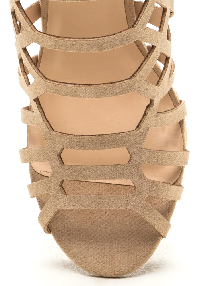 Call Me Honey Cut-Out Caged Heels NATURAL