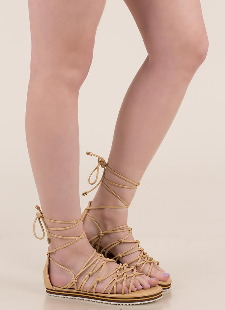 World Traveler Knotted Lace-Up Sandals BEIGE
