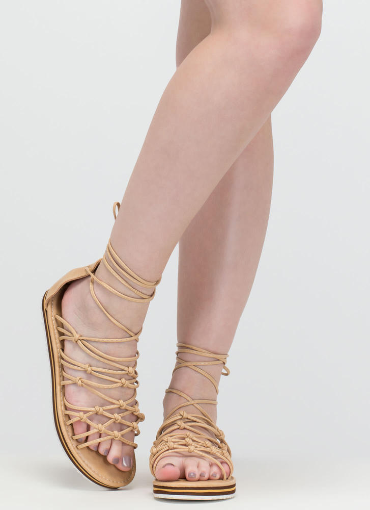 World Traveler Knotted Lace-Up Sandals BEIGE (Final Sale)