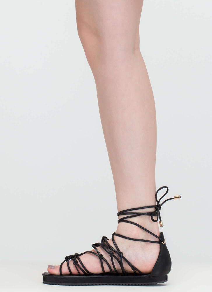 World Traveler Knotted Lace-Up Sandals BLACK