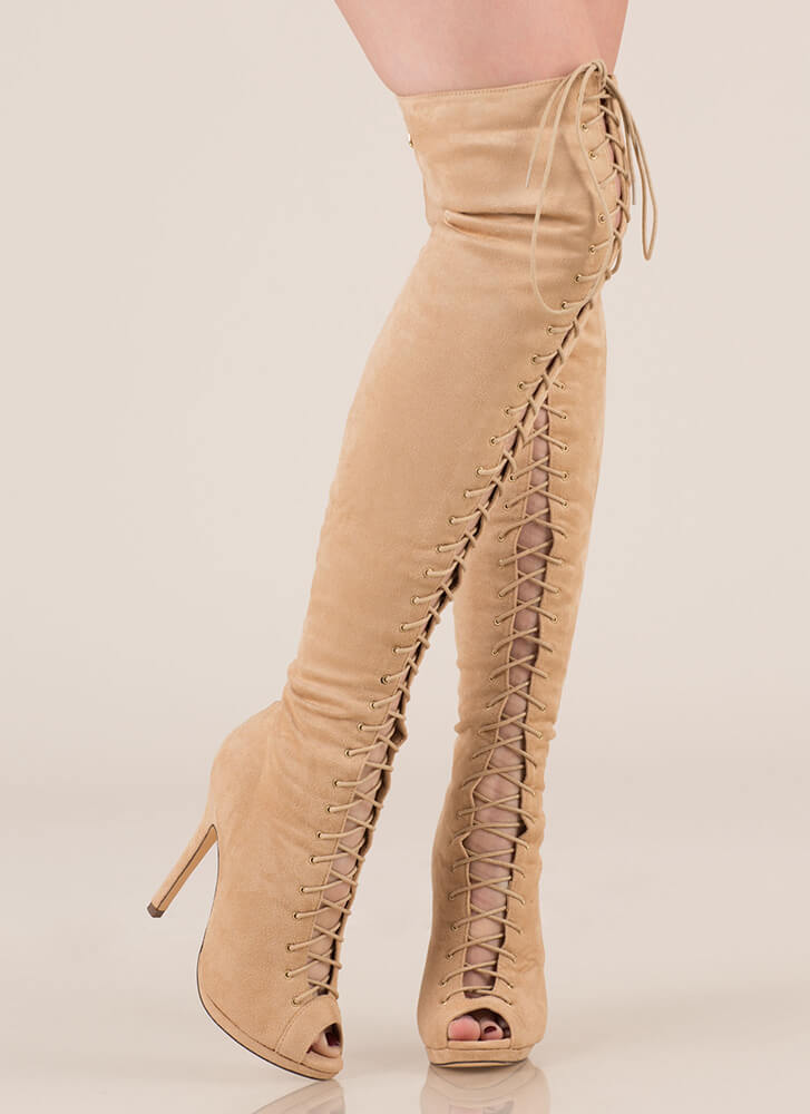 Revamp Faux Suede Over-The-Knee Boots NUDE