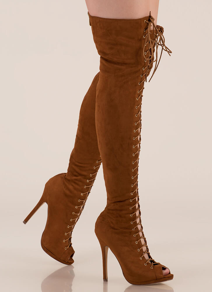 Revamp Faux Suede Over-The-Knee Boots TAN