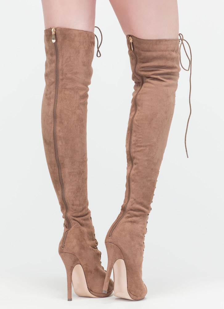 Revamp Faux Suede Over-The-Knee Boots TAUPE