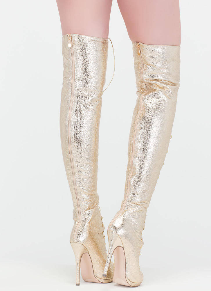 Revamp Metallic Over-The-Knee Boots GOLD