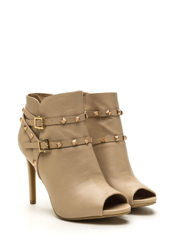 Edgy 'N Chic Strappy Studded Booties NUDE (Final Sale)