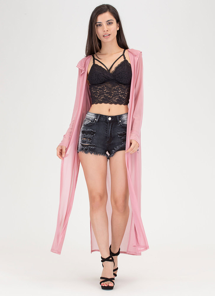 Lightest Touch Long Mesh Jacket MAUVE