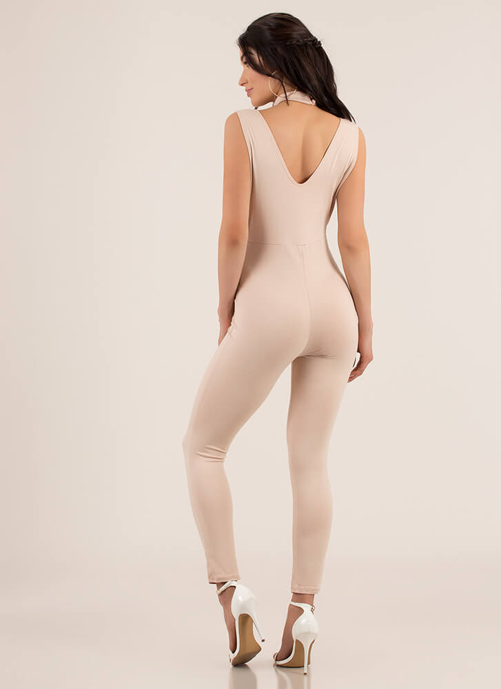 Lead The Way Choker T-Strap Jumpsuit BEIGE