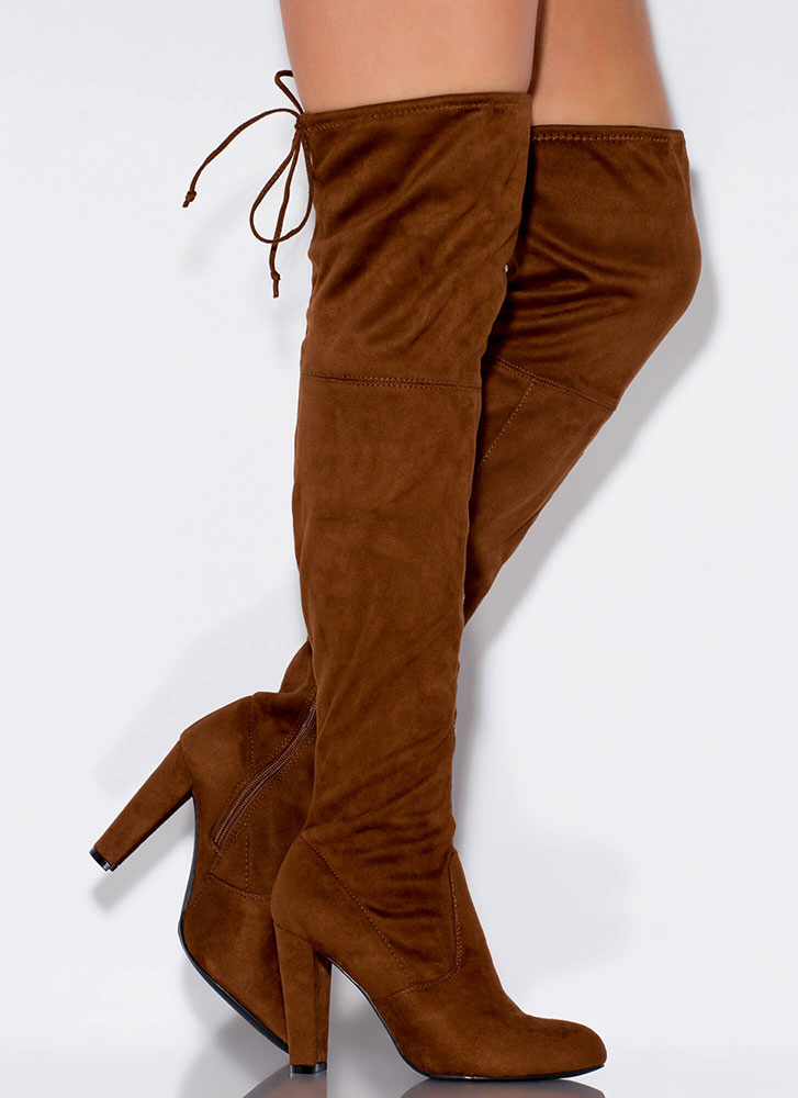 All Legs Over-The-Knee Chunky Boots BROWN